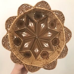 Boho Wicker Floral Shaped Hanging Wall Basket